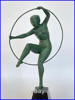 Danseuse Au Cerceau Art Deco Regule Patine Verte 1930 Socle Marbre Noir C2718