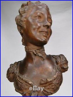 EMILE GUILLEMIN SUPERBE BUSTE JEUNE FEMME TERRE CUITE FIN XIXè 1900 ART NOUVEAU