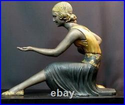 E 1925 statue sculpture art déco CHIPARUS femme aux chèvres 76cm marbre superbe