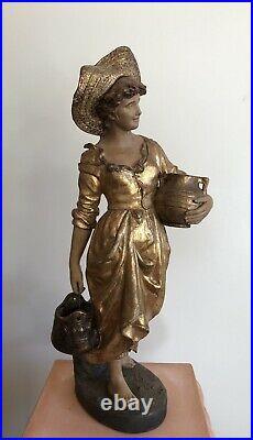E. TELL, GOLDSCHEIDER La porteuse d'eau terre cuite Art-nouveau, Jugendstil