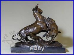 Edouard. Delabrierre, art animalier, scène de combat, beau bronze, envoi gratuit