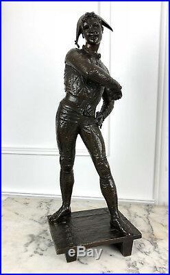 Émile Laporte Sculpture En Bronze L'arlequin De La Comédie Del Arte De 54cm H