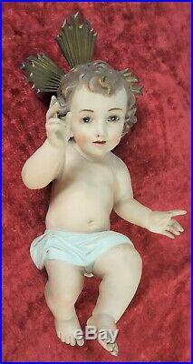 Enfant Jesus. Sculpture À Stucco. Polychrome Arte Español Olot. Xix-xx Siecle