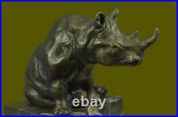 Fantastique Détaillé Blanc Rhinocéros Bronze Art Figurine Statue Sculpture