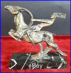 Femme A Cheval. Sculpture En Métal Argentée. Style Art Déco. Xxe Siècle