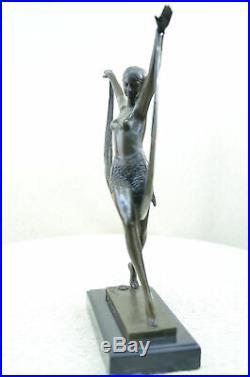 Figurine Bronze Sculpture Statue Signé Art Déco Chair Fille Danseuse Fayral