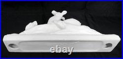 French Sculpture ODYV Ceramic Art Deco Statue Crackle Glaze DEER & DOGS c1930
