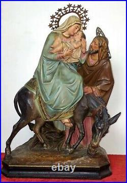 Fuite D'égypte. Sculpture. Pte De Bois Policromé. El Arte Cristiano Olot. Xixe