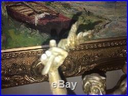 GEORGES BAREAU Statue / régule La voix de la paix signé Haut 48cms Art éco
