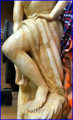 Grande STATUE MARBRE Carrare signe Andorre BAIGNEUSE antique art sculpture 1,5m