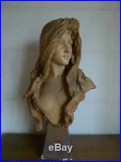 Grande Statue Buste Jeune Fille Signee Goldscheider Wien Art Nouveau Fin XIX