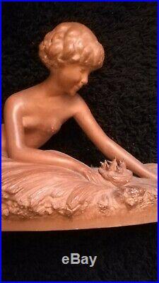 Grande Terre Cuite Art Deco 1930 Signee George Coste Etling Belle Femme Nue