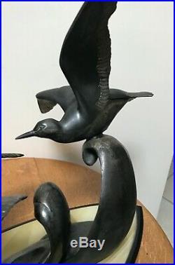 Grande sculpture Art Deco Trois mouettes signée Irénée ROCHARD circa1930