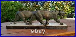 Groupe art déco Les panthères par Rulas, sculpteur animalier vers 1930 Signé