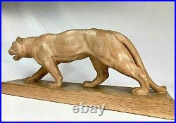 Henri Bargas Grande Sculpture Art Deco Lionne Marchant Statue Terre Cuite 1930