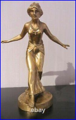 Henri FUGERE, Femme Orientale, Bronze, Statue Art déco mascotte automobile
