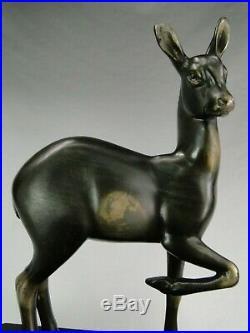 IRENEE ROCHARD GRANDE SCULPTURE BICHE ART DECO BASE MARBRE NOIR STATUE Ca. 1930