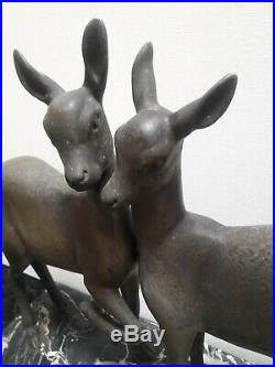 IRENEE ROCHARD SCULPTURE BICHES ART DECO TIMIDITE STATUE Ca. 1930