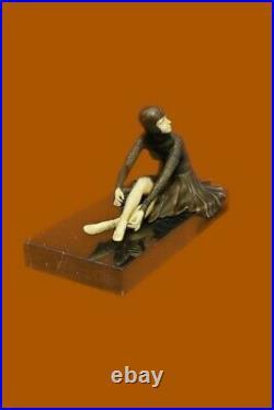 Jeune Danse Femme Fait Élégant Bronze Sculpture Statue Figurine Art