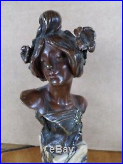 Julien CAUSSÉ (1869-1909)-Buste-Bronze-femme- Art Nouveau-Antique-jugenstyle