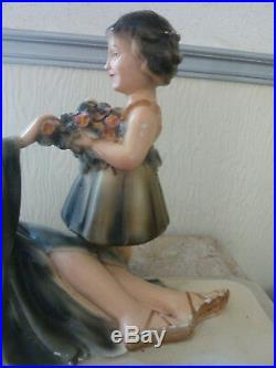 LA FEMME ET L'ENFANT ART DECO signé, numéroté d'après Ugo CIPRIANI L 52 cm