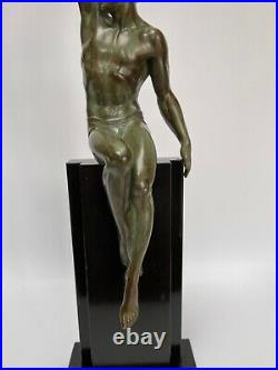 La Gloire De Le Faguays Fonte Art Max Le Verrier Patine Verte Art Deco C2736