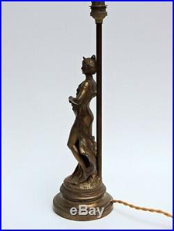 Lampe Statue en régule patiné bronze Auguste Moreau Art Nouveau