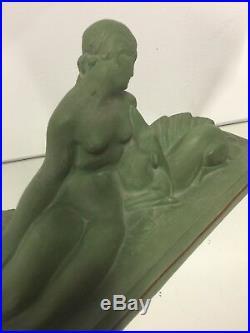 Lejan Terre Cuite Patine Verte Femme Art Deco Ancien Sculpture Statue Biche