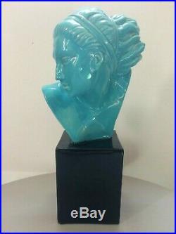 Marcel Bouraine (1886-1948) rare terre cuite émaillée buste Art Deco signé