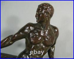 Marin Barreur Athlète Nu Sculpture Art Déco Bronze Signé Marcel Guillemard