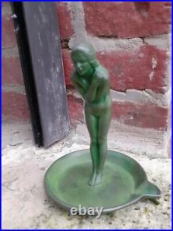 Max le verrier Sculpture Statue Baguier Bronze Regule Art Deco Annees 30