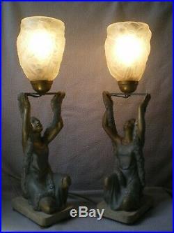 Paire de lampe art deco P. SEGA 1930 sculpture femme vintage statue lamp figural