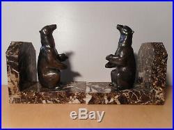 Paire serre livre art deco sculpture statue régule ours socle marbre