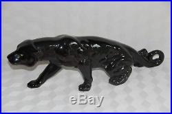 Panthere noir yeux jaune céramique faïence sculpture statue animalière art déco