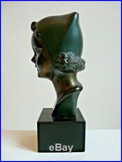 Petit Buste Fillette En Regule Patine Signe Max Le Verrier Art Deco 1930/40