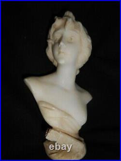 RARE ANCIEN BUSTE FEMME ALBTRE 1900 ART NOUVEAU BUST WOMAN ALBASTER populaire