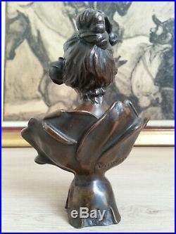 RARE SUPERBE ancien BUSTE FEMME STATUE en BRONZE signé VILLANIS Art Nouveau