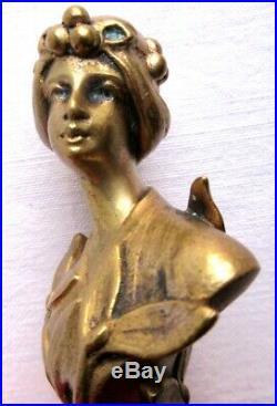 RARE Sculpture bronze Art Nouveau Jugendstil, sceau à cacheter Femme au gui