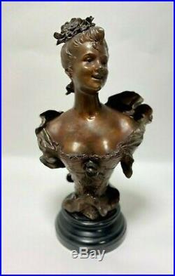 Regule 1900 Art Nouveau Femme En Costume D Epoque Base En Bois Signe H2133