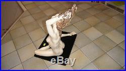 STATUE A SANTINI. Albâtre+Poudre Marbre+Résine. Magnifique femme nue Art déco. N°1