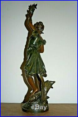 STATUE EN REGULE PATINE ART NOUVEAU SIGNE GUILLEMIN Anémone 1900