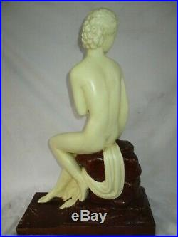 STATUE FEMME NUE LEMANCEAU (54cm) ART DECO ODYV /Nue french sculpture 1900/30
