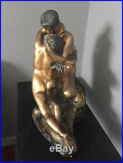 STATUE /MOULAGE D'ART SIGNÉ PACINI LES DEUX AMANTS. Couple/ Rodin/baiser/amour