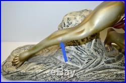 SUPERBE ANCIEN GRAND PLATRE HOMME ART DECO signé CIPRIANI Patine Bronze 1930/40