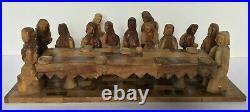 Scene En Bois Sculpte Representant La Cene Jesus Apotre Art Populaire 1950 B955