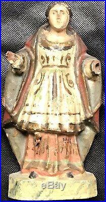 Sculpture Ancienne Bois Sculpté Art du XVII éme XVIIIe Siècle Portrait de Sainte