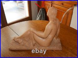 Sculpture Ancienne Terre Cuite Buste Art Déco Femme Nue