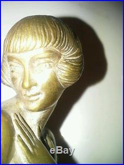 Sculpture Art Deco Old Bronze Le Fagays 1892-1935 Shy Fondeur Etling No Copy