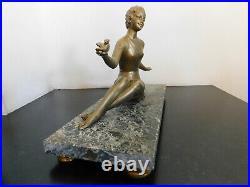 Sculpture Art Déco signée BALLESTE régule patine dorée doré Statue woman