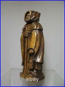 Sculpture En Bois XIXe. Moine. Prieuré. Monastère. Art populaire